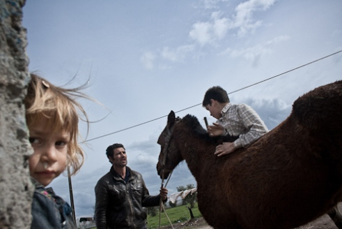 A little girl plays while her brother and fahter take care of the family horse.
