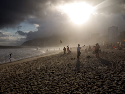 March 2011. Ipanema Beach looking towards Favela Vidigal, Rio de Janeiro.