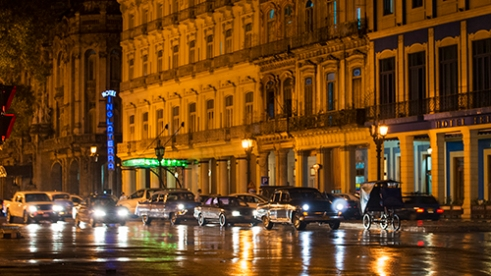 Warm Rainy Night in Central Havana,