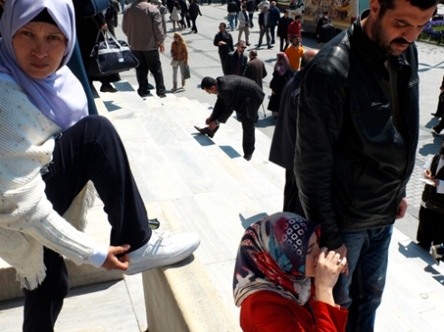 Crowd scene on mosque steps Istanbul