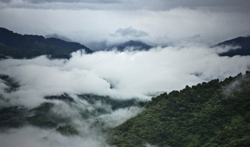 Rain clouds seen condensing in the valley formed by the Patkai Range. Most of Arunachal Pradesh is covered by the Himalayas. However, parts of Changlang, Lohit & Tirap are covered by the Patkai Range. The Patkai Range forms a natural international boundary with Myanmar and state boundary with Nagaland. Characteristically Patkai Range has deep valleys; the peaks of the Range are low as compared to those of the Himalayas and have steep slopes.