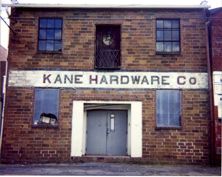 The old Kane Hardware Building in Westin, West Virginia
