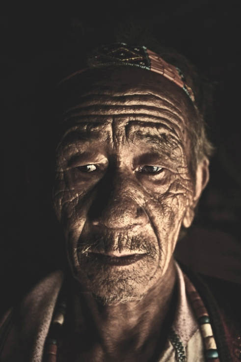 Portrait of an Old Wancho Tribe Man.