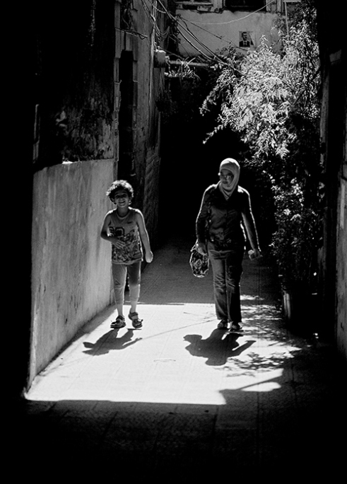 Two girls returning from school. Damascus 2010-01-17