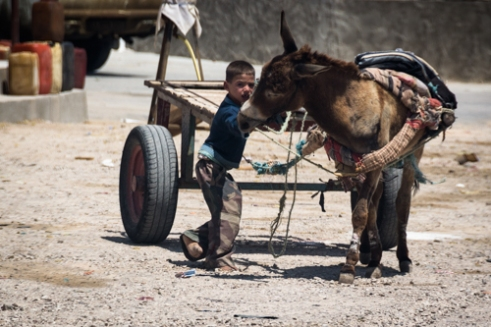 A child of a berber village still inhabited. CHENINI
