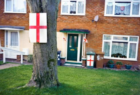 St.Georges Cross on Tree,bin and window Walsall - 2015
