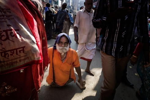 Empowered Pilgrim returning from his bath in the river Ganges Varanasi