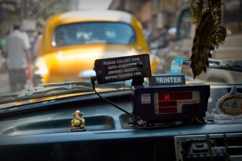 Dash Inside the iconic Ambassador cab. Kolkata