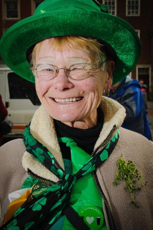 Lady celebrating St Patricks Day Derby, England