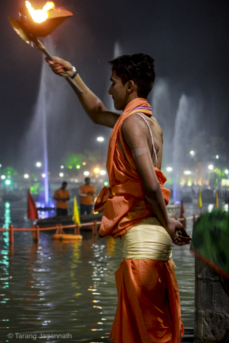 Evening prayer (Aarti) at bank of river Shipra