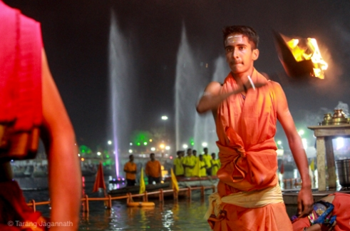 Evening prayer (Aarti) at bank of river Shipra Evening prayer generate calm spiritual environment.