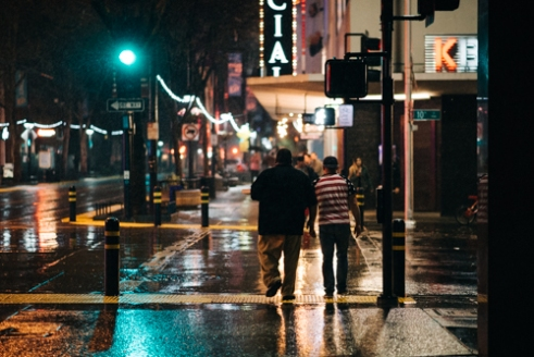 Rainy Nights walking down K St in Sacramento, California