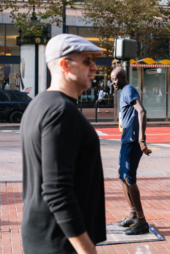 Head to Head tap-dance off on Market Street, San Francisco California