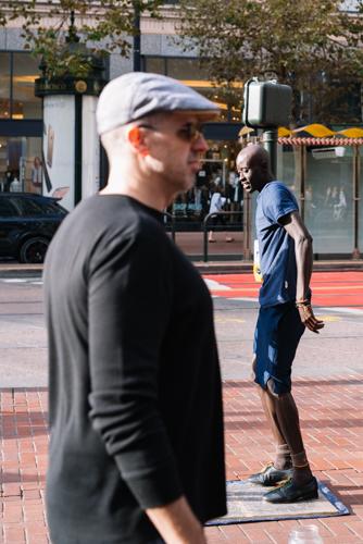 Head to Head tap-dance off on Market Street, San Francisco California