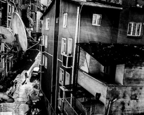 A shot from a hotel room in the district of Beyoglu, after the morning prayer,