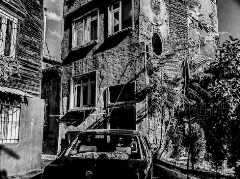 A parked car inside the district of Beyoglu