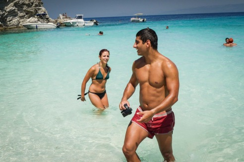 Woman and Man - Red Shorts Anti Paxos, Greece
