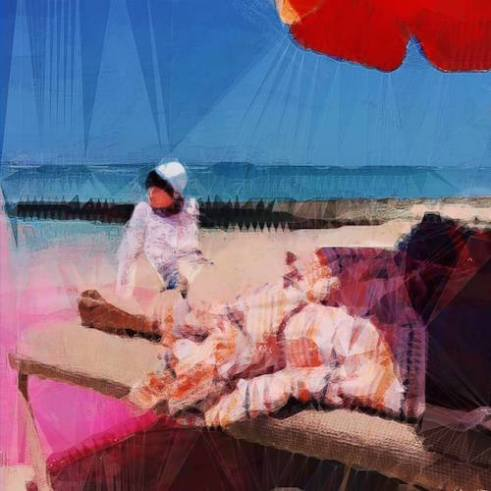 Geometry Lessons IV A woman sits on the sand beside a beach lounge chair outside the Outrigger Beach Resort Waikiki Beach, HI