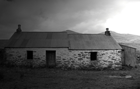 'Once lived in'. An abandoned croft at Balnreich, Perthshire, Scottish Highlands, that was formed part of a small township (village). Now devoid of people following the Highland Clearances.