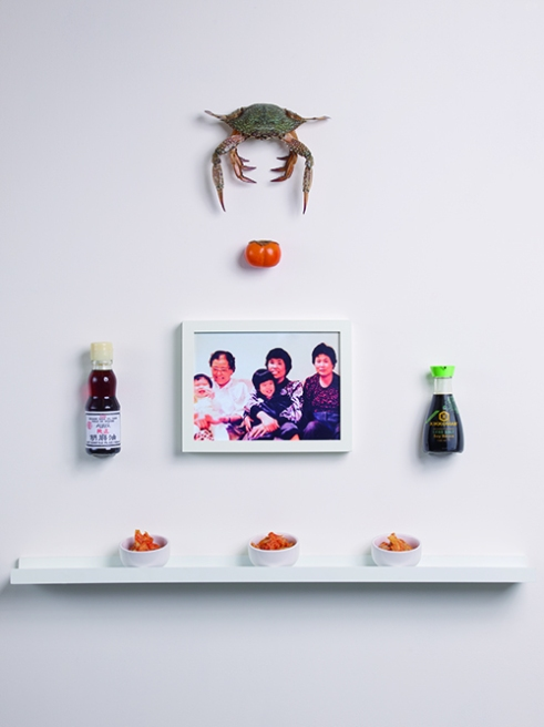 Crab, Persimmon, Japanese Sesame Oil, Christin's Grandmother, Mother, Auntie, Brother and Christin, Japanese Soy Sauce, Kim Chi.