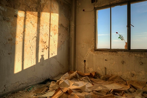 Empty room in an abandoned building. Piraeus, Greece