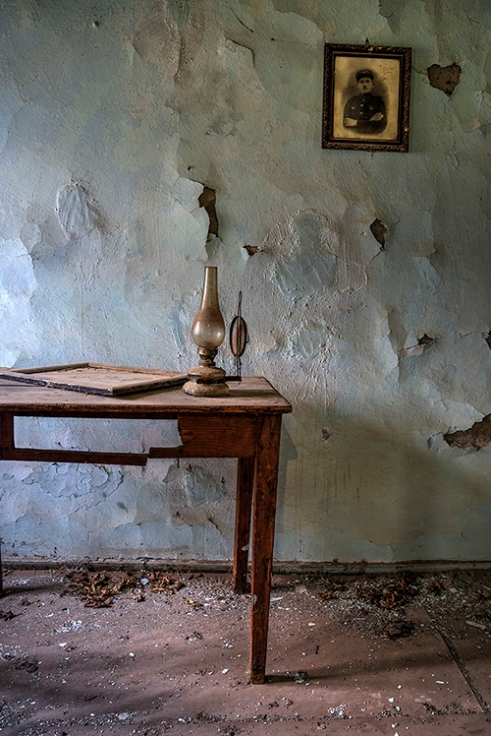 View of a room in an abandoned house, Lefkaditis Village, Greece.