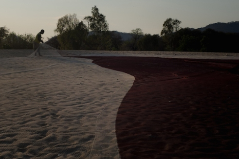 A fisherman repairs his trawling net in Monkey Bay on the beach of Lake Malawi.