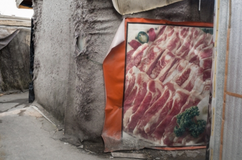 Meat House, 2015 People in the neighborhood use any accessible material to protect their house. Thick felt cloth is used often as material for walls of houses. As the cloth is not waterproof, the owner of house picked up abandoned plastic billboard and attached it to his wall.