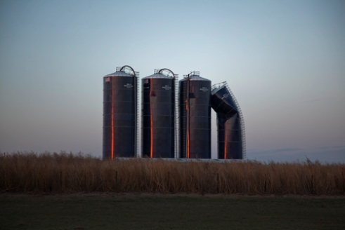 Grain silos at sunset North of Cullison
