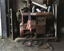 American flag in garage, 2002