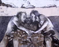 The Embrace Pastel, acrylic, oil, & antique wall  paper on canvas