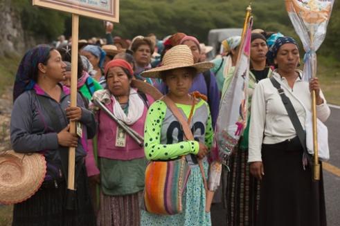 Group Guadalupano de la Sierra in day 4 of their 17 day pilgrimage walking from Landa de Matamoros to Ahuacatlan.