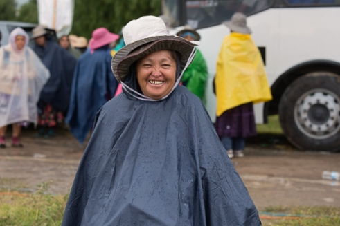 Rain is not an impediment to walk, attend mass, or simply having a good time.