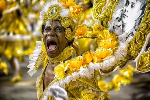 São Paulo, Brazil- February 7, 2016: A Brazilian samba dancer performing in costume for the samba school Mocidade Alegre at the Amhembi Sambadrome in Sao Paulo.