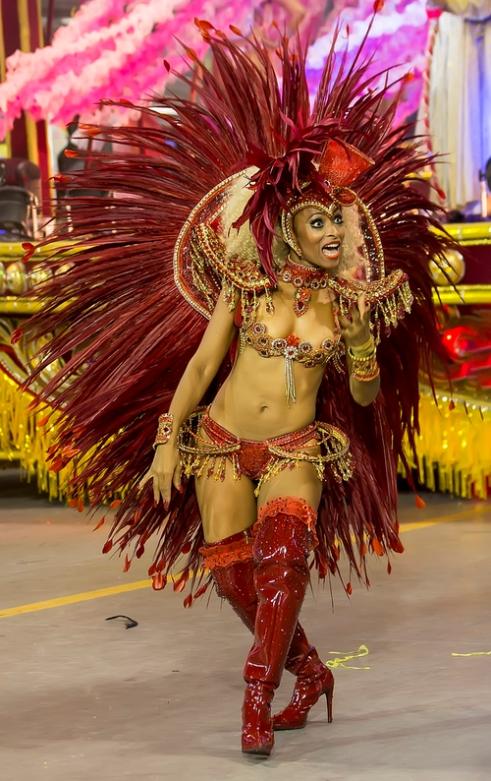 São Paulo, Brazil- February 7, 2016: Brazilian samba dancers performing in costume for the samba school Imperio de Casa Verde at the Amhembi Sambadrome in Sao Paulo.