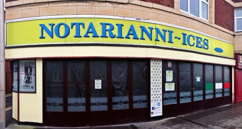 Notarianni Ices..the best ice cream on the coast and a favorite place for Knickerbockers Glories. Fueled by nostalgia I left Bond St behind and walked down Bolton St past a brightly lit arcade with a cafe area, flashing lights and the buzzing & beeping of arcade games still not enough to draw the people in from the cold wet street, I walked past more empty boarded up shops till I came to..