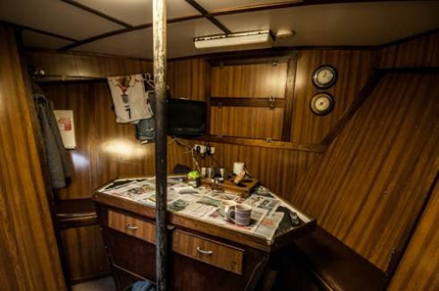 Cabin interior, the beds and living area of a creel boat in Whitehaven. Images of fishing ports across the UK during the 1940s tell an entirely different story. The docks were jammed with fishing boats, with tales across the land of the wealth that the fishing brought. Nowadays fishing boats are sparse, due mainly to the disappearance of cod, haddock and plaice. Which has changed the need for deep sea fishing to alternative methods and in shore fishing. These once thriving fishing communities are becoming an endangered species themselves.