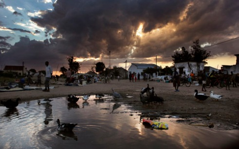 Stormy weather moves in over the Central market during in Mombane, Mozambique at sunset. (2005)