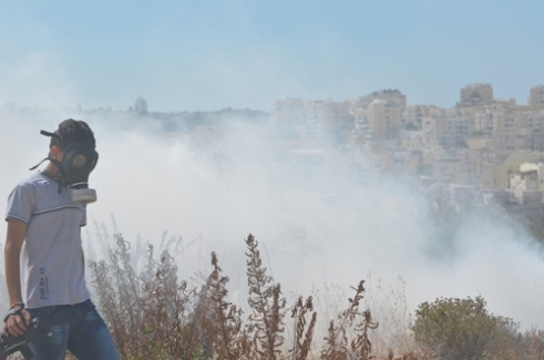 Bil'in Teargas: A young Palestinian walks through the tear gas at Bil'in, West Bank. In Bil'in there are many civilian journalists who believe that documenting the Israeli states actions are more valuable than actively fighting against them.