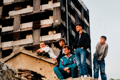 Children in the war damaged streets of Mostar, Bosnia..Warchild projects in Mostar and Sarajevo, in Bosnian Wars, 1994-1995.