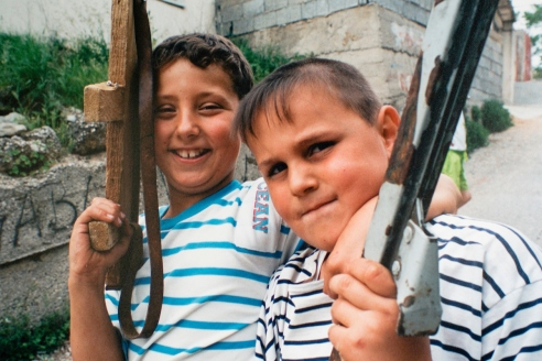 Children in the war damaged streets of Mostar, Bosnia..Warchild projects in Mostar and Sarajevo, in Bosnian Wars, 1994-1995