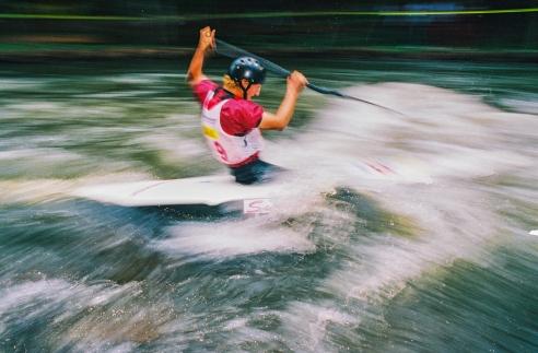 Athlete in a canoe competition. Três Coroas, Rio Grande do Sul, Brazil
