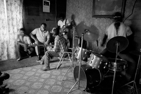 Junior Kimbrough performing at house party Holly Springs, Mississippi