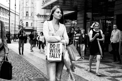 A girl with a bag in Prague