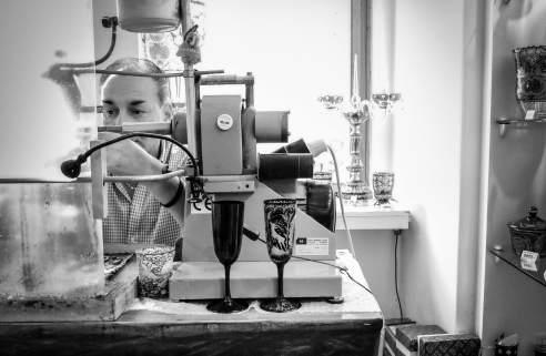 A glass maker in Prague