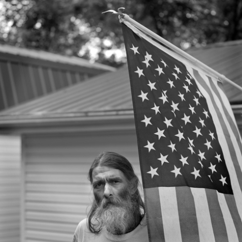 Robbie With Flag Perry County, Kentucky