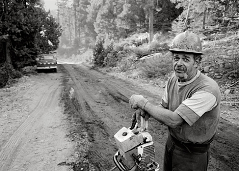 Donald Bruce Cash - works in the landing helping the loader operator. His job is called a knot bumper or landing man. He cuts off any knots or branches that are left on the logs and hits the end of each log with a big steel branding hammer. Each gyppo logger has their own brand so the mill can scale the log and pay the gyppo according to their contract. Western Sierra Nevada near Calaveras County 2004