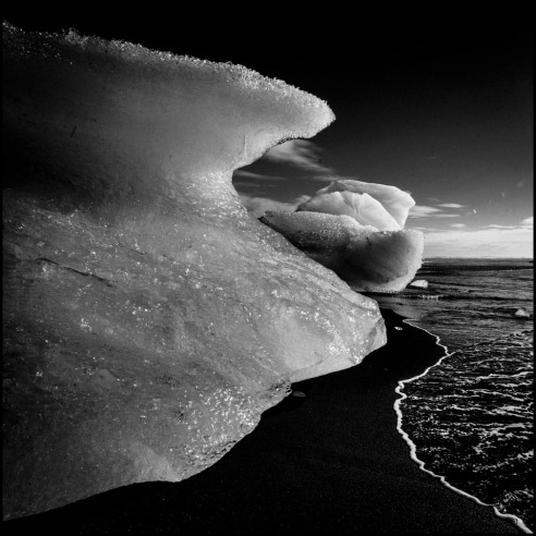 Ice and black sand Iceland