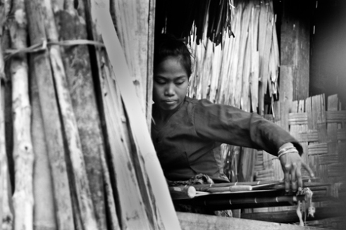 Baduy woman weaving cloth Baduy Village, Banten. Indonesia