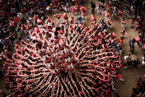Colla Vella Xiquets de Valls build their human tower during the XXV Concurs de Castells in Tarragona